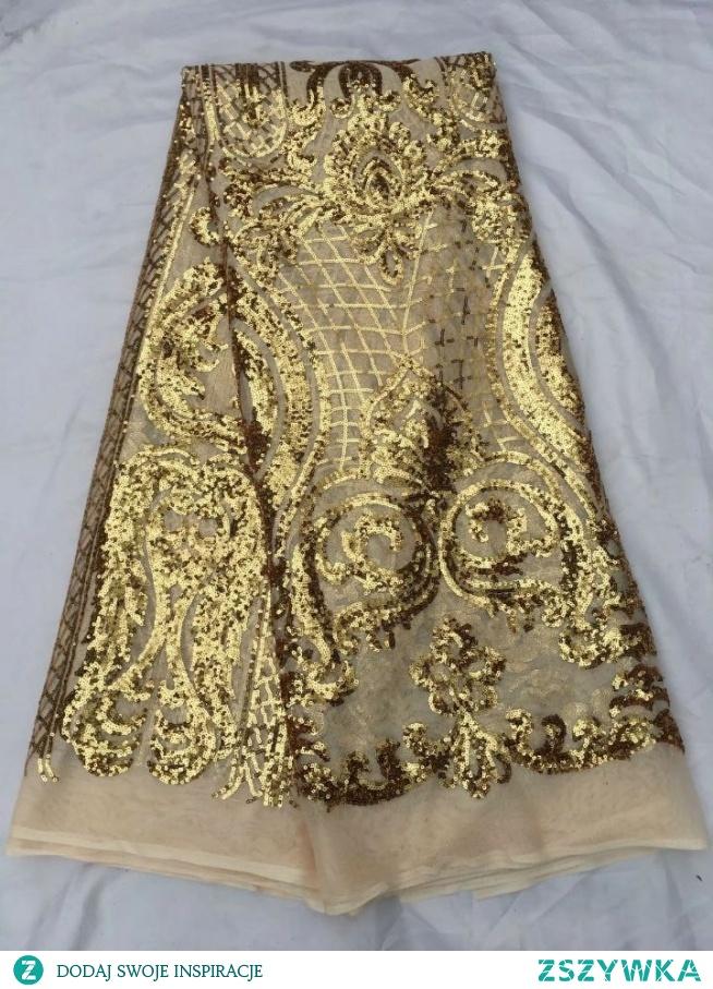 5 Y/pc modny khaki francuski koronki tkaniny netto z złote cekiny dekoracji afryki oczek koronki dla ubrania QN60 1 w Koronka od Dom i ogród na AliExpress