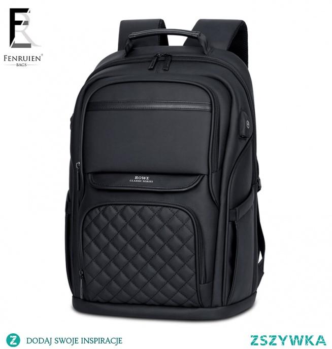 FRN Business męski plecak czarny usb ładowanie z zabezpieczeniem przeciw kradzieży plecak na laptopa 15.6 Cal męskie o dużej pojemności modne plecaki turystyczne w Plecaki od Bagaże i torby na AliExpress