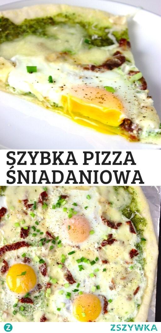 Szybka pizza śniadaniowa z jajkami i pesto