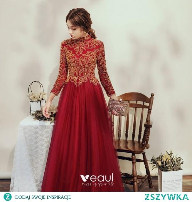 Eleganckie Burgund Sukienki Na Bal 2020 Princessa Wysokiej Szyi Frezowanie Rhinestone Cekiny 3/4 Rękawy Bez Pleców Długie Sukienki Wizytowe