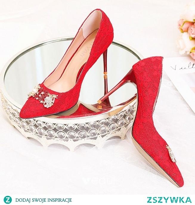 Uroczy Czerwone Buty Ślubne 2020 Perła Rhinestone Kwiat Z Koronki 9 cm Szpilki Szpiczaste Ślub Czółenka