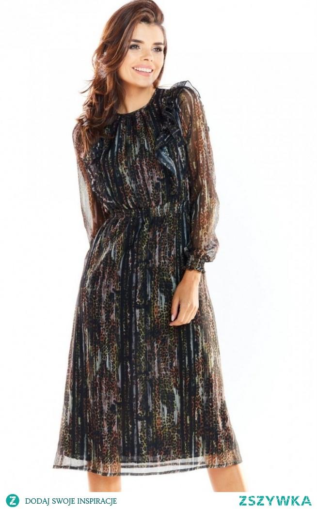 Awama Zwiewna szyfonowa sukienka Awama A314/WZ3