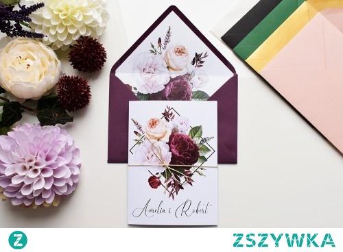 Zaproszenie ślubne - Geometryczne  Róże.