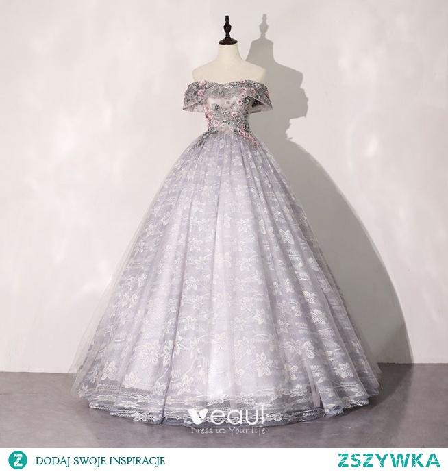Eleganckie Wróżka Kwiatowa Srebrny Szary Sukienki Na Bal 2020 Suknia Balowa Przy Ramieniu Rhinestone Z Koronki Kwiat Kótkie Rękawy Bez Pleców Długie Sukienki Wizytowe