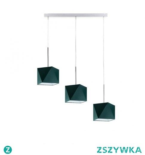 Charakterystyczną cechą wiszącą oświetlenia MICHIGAN to połączenie trzech równomiernie umieszczonych abażurów w kształcie diamentu. Lampa idealnie sprawdzi się jako oświetlenie nad stół kuchenny, designerskie oświetlenie do pokoju czy też sypialni. Dodatkowym atutem lampy jest możliwość regulowania wysokości zwisu, a więc umieszczenie jej w różnych wysokościach pomieszczeń nie sprawi problemu.   Lampa dostępna w kilkunastu wariantach kolorystycznych abażurów oraz w 6 kolorach stelaży: biały, srebrny, czarny,chrom, stal szczotkowana, stare złoto.