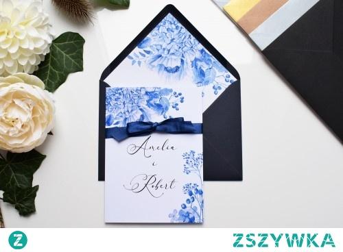 Zaproszenie ślubne - Porcelanowy Błękit.