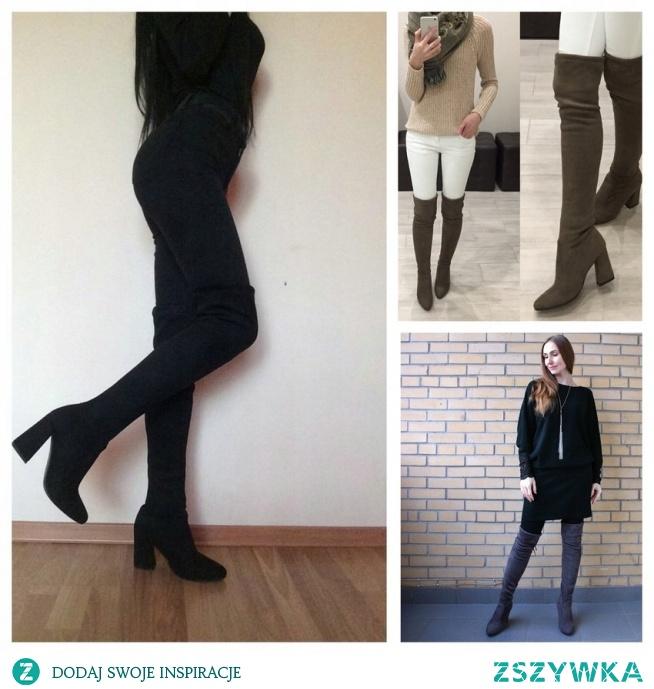 Długie czarne kozaki idealnie podkreślają i wysmuklają nogi. Pasują do wszystkiego, spodni, spódnic długich oraz krótkich, sukienek.