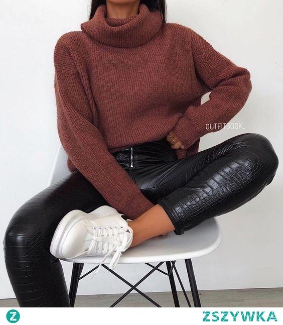 Jesienna stylizacja ze skórzanymi spodniami