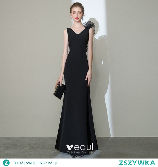 Eleganckie Jednolity kolor Czarne Sukienki Wieczorowe 2020 Syrena / Rozkloszowane V-Szyja Bez Rękawów Bez Pleców Długie Sukienki Wizytowe