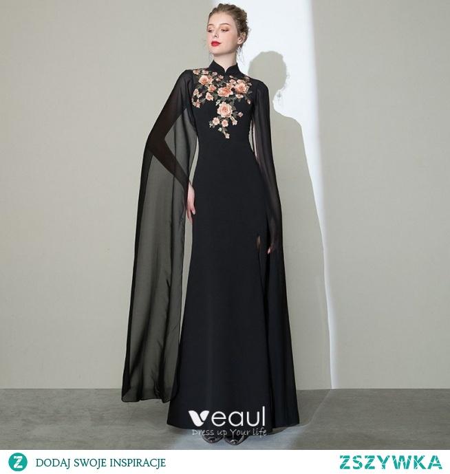 Chiński Styl Czarne Sukienki Wieczorowe 2020 Syrena / Rozkloszowane Wysokiej Szyi Aplikacje Z Koronki Kótkie Rękawy Podział Przodu Długie Sukienki Wizytowe