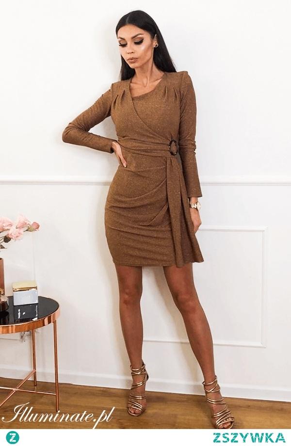 Złota sukienka z wiskozy z kolekcji illuminate.pl <3