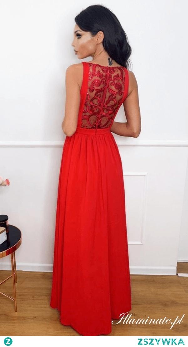 Długa czerwona sukienka na studniówkę z kolekcji illuminate.pl