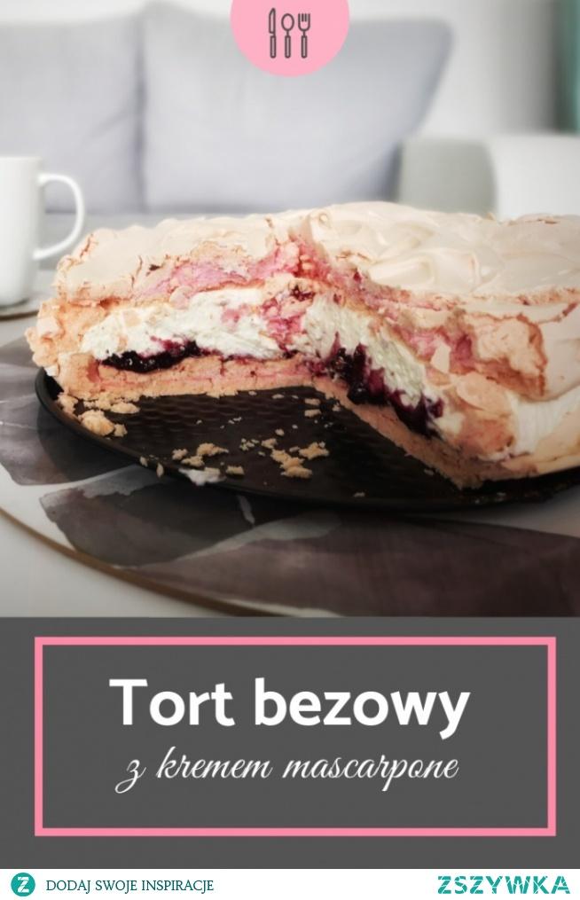 przepis na różowy tort bezowy
