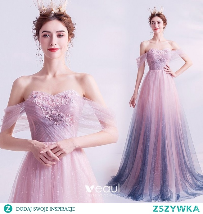 Eleganckie Gradient-Kolorów Fioletowe Cekinami Sukienki Na Bal 2020 Princessa Przy Ramieniu Kryształ Perła Aplikacje Z Koronki Kwiat Bez Rękawów Bez Pleców Długie Sukienki Wizytowe