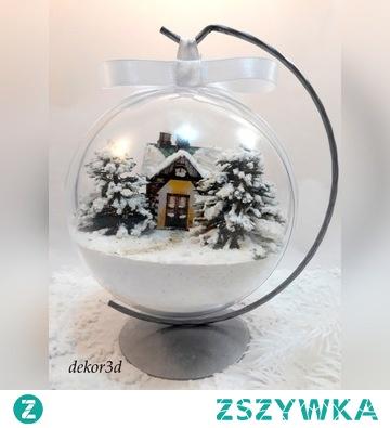 Bombka 3d  domkiem w zimowym krajobrazie. Produkt hand made.