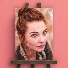 Obraz - portret - akwarela cyfrowa ze zdjęcia drukowana na płótnie gotowym do powieszenia na ścianie.  To świetny pomysł na prezent na mikołajki, święta, walentynki, urodziny, r...