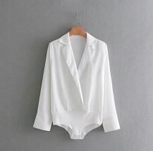 Koszula body - biała/czarna...