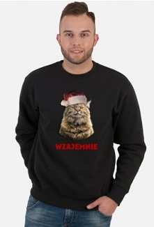 Kot, świąteczne życzenia, choinka. Prezent na święta, mikołajki. Zimowy, na zimę. Dla żony, córki, dziewczyny, narzeczonej, męża, chłopaka, narzeczonego, mamy, taty, kolegi, kol...