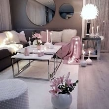 pink and grey living room i...