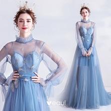Vintage Błękitne Sukienki W...