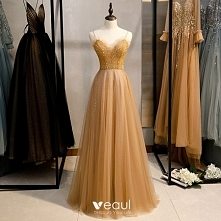 Piękne Złote Sukienki Wiecz...