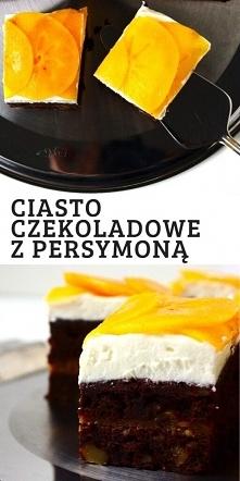 Wilgotne ciasto czekoladowe z persymoną i kremem z mascarpone.