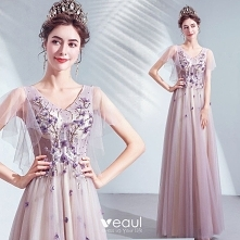 Piękne Fioletowe Sukienki N...