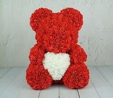 Prezent na walentynki 2020. Dla dziewczyny lub ukochanej Ci osoby. Miś z róż z małych różyczek. Miś ze styropianu. Link w komentarzu.