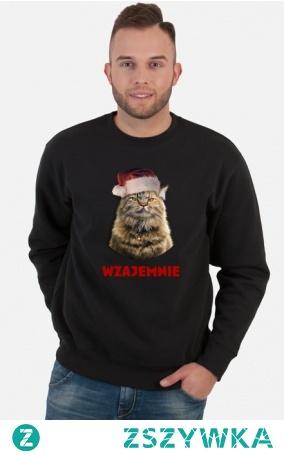 Kot, świąteczne życzenia, choinka. Prezent na święta, mikołajki. Zimowy, na zimę. Dla żony, córki, dziewczyny, narzeczonej, męża, chłopaka, narzeczonego, mamy, taty, kolegi, koleżanki, przyjaciela, dziecka, dzieci, przyjaciółki, wielbiciela, posiadacza kota.     #święta #kot #życzenia #prezent #pomysłnaprezent #wigilia #gwiazdka #gwiazdkowe #mikołaj #jedzenie #jedzonko #kevin #teelewizja #piżama #humor #dziecko