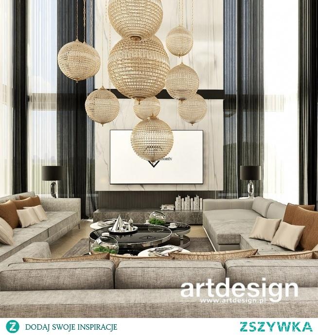 Aranżacja wysokiego wnętrza - niezwykły salon w nowoczesnym domu | UNPARALLELED ELEGANCE