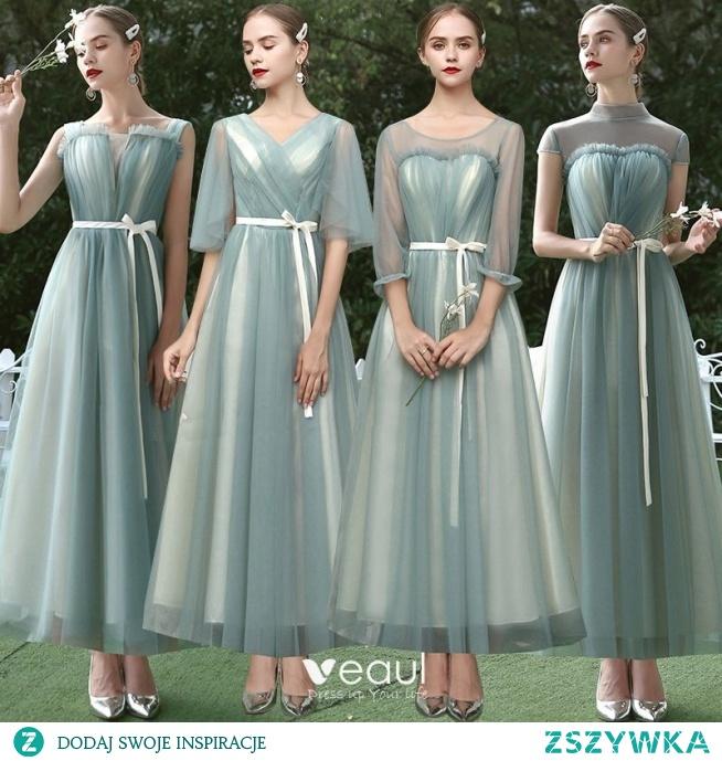 Niedrogie Szałwia Zielony Sukienki Dla Druhen 2020
