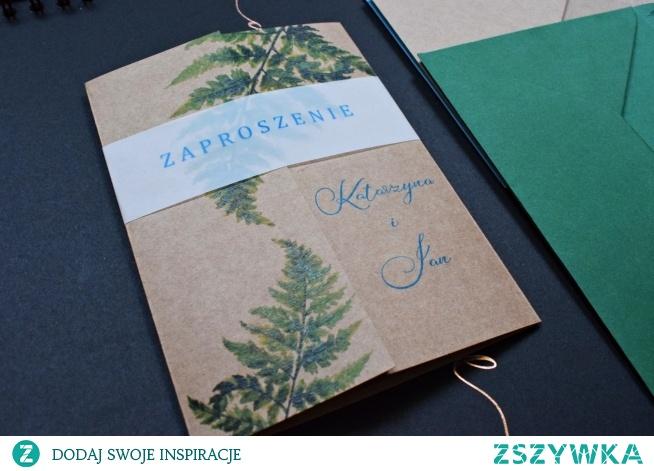 Zaproszenie rustykalne na papierze eko z motywem paproci! <3