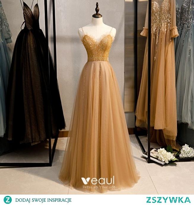 Piękne Złote Sukienki Wieczorowe 2020 Princessa Spaghetti Pasy Frezowanie Perła Cekiny Bez Rękawów Bez Pleców Długie Sukienki Wizytowe