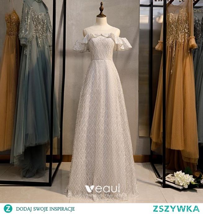 Błyszczące Srebrny Szary Cekinami Sukienki Wieczorowe 2020 Princessa Wycięciem Cekiny Kótkie Rękawy Długie Sukienki Wizytowe
