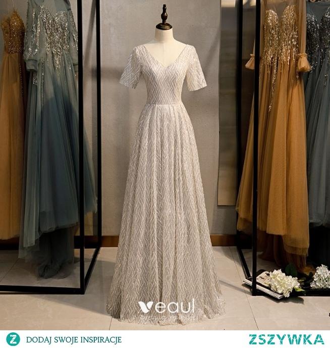 Błyszczące Srebrny Szary Cekinami Sukienki Wieczorowe 2020 Princessa V-Szyja Cekiny Kótkie Rękawy Bez Pleców Długie Sukienki Wizytowe