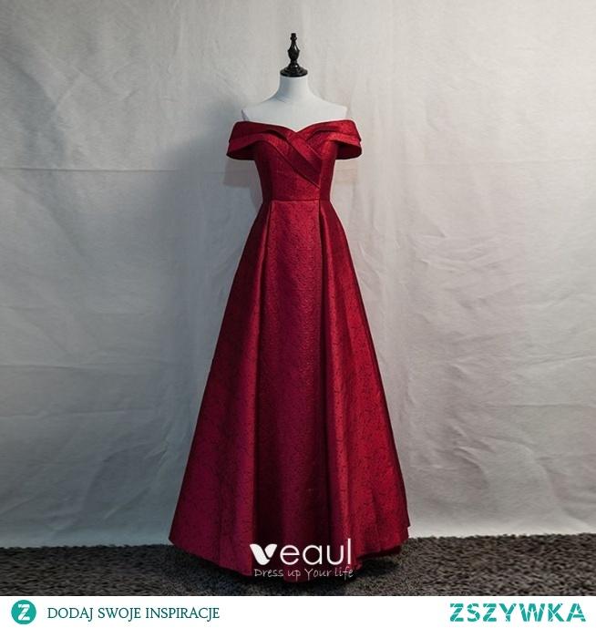 Eleganckie Burgund Sukienki Wieczorowe 2020 Princessa Przy Ramieniu Kótkie Rękawy Bez Pleców Długie Sukienki Wizytowe