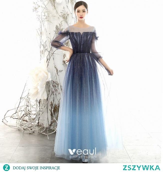 Niedrogie Granatowe Gradient-Kolorów Sukienki Wieczorowe 2020