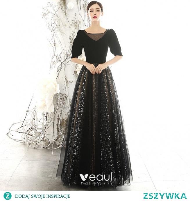 Vintage Czarne Zamszowe Sukienki Wieczorowe 2020