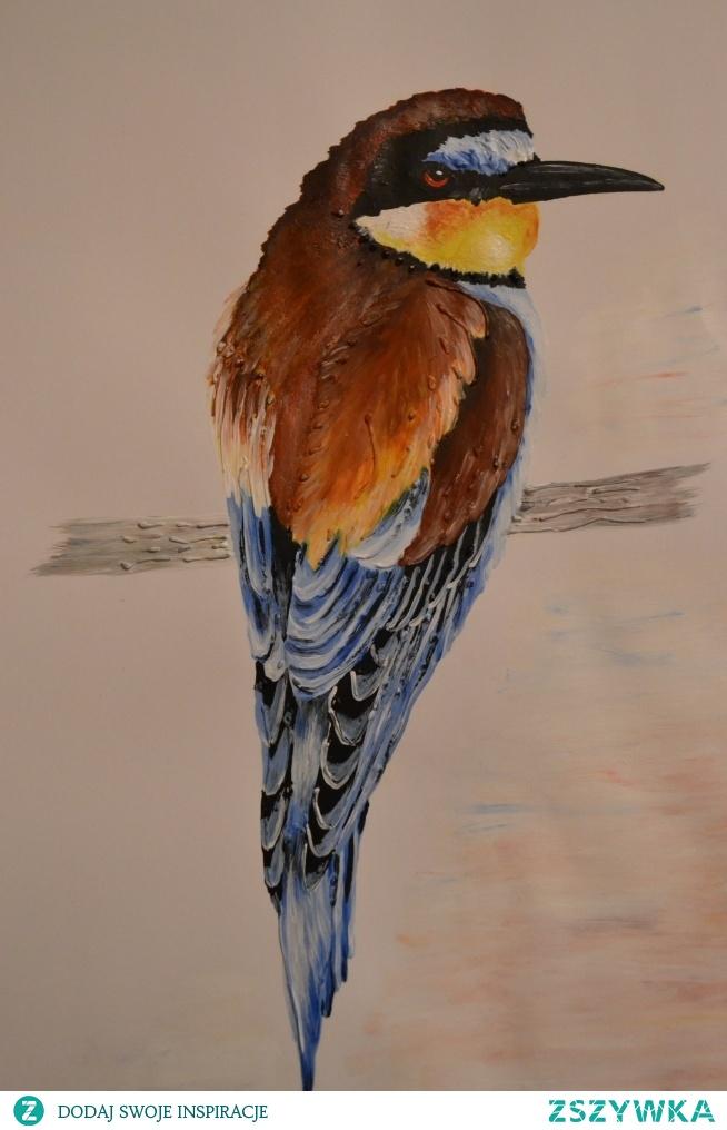 Żołna, malowana farbami, format A4.
