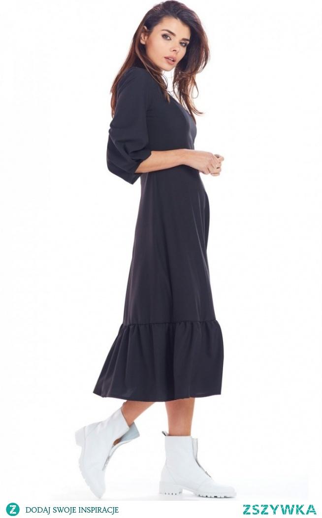 Awama Sukienka maxi z falbaną czarna A345