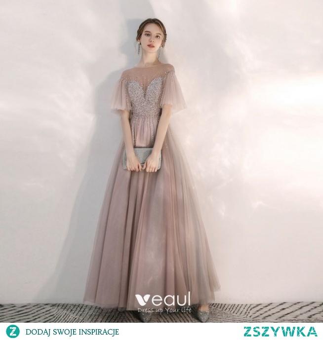 Eleganckie Różowy Perłowy Przezroczyste Sukienki Wieczorowe 2020 Princessa Kwadratowy Dekolt Kótkie Rękawy Rękawy z dzwoneczkami Frezowanie Długie Wzburzyć Bez Pleców Sukienki Wizytowe