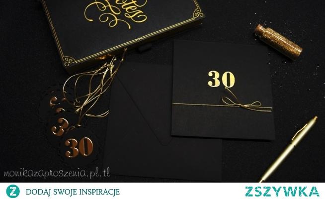 Czarno-złote zaproszenia na 30 urodziny