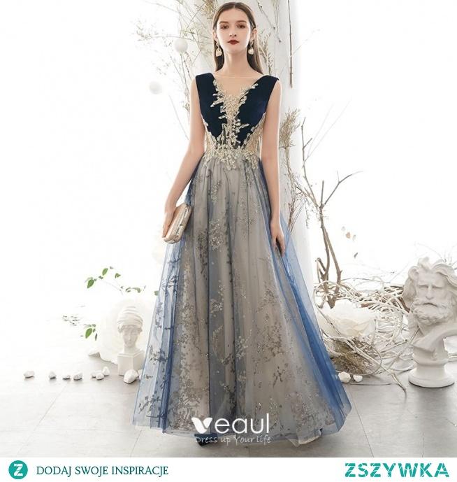 Eleganckie Granatowe Sukienki Na Bal 2020 Princessa Wycięciem Cekinami Cekiny Z Koronki Kwiat Bez Rękawów Bez Pleców Długie Sukienki Wizytowe