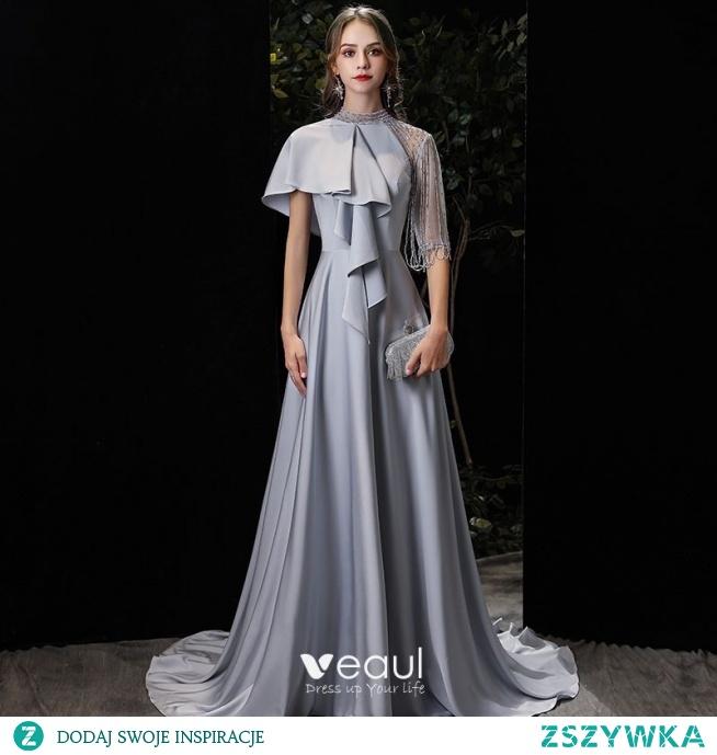 Moda Srebrny Charmeuse Sukienki Wieczorowe 2020