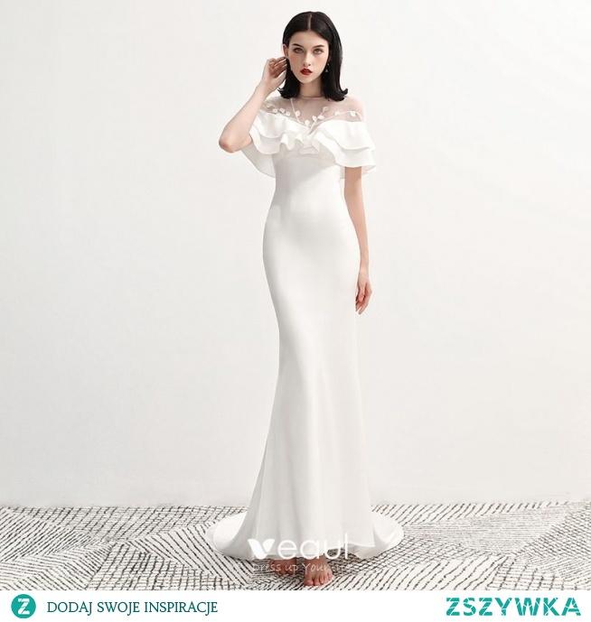Moda Białe Szyfon Przezroczyste Sukienki Wieczorowe 2020 Syrena / Rozkloszowane Wycięciem Kótkie Rękawy Aplikacje Z Koronki Trenem Sąd Wzburzyć Bez Pleców Sukienki Wizytowe