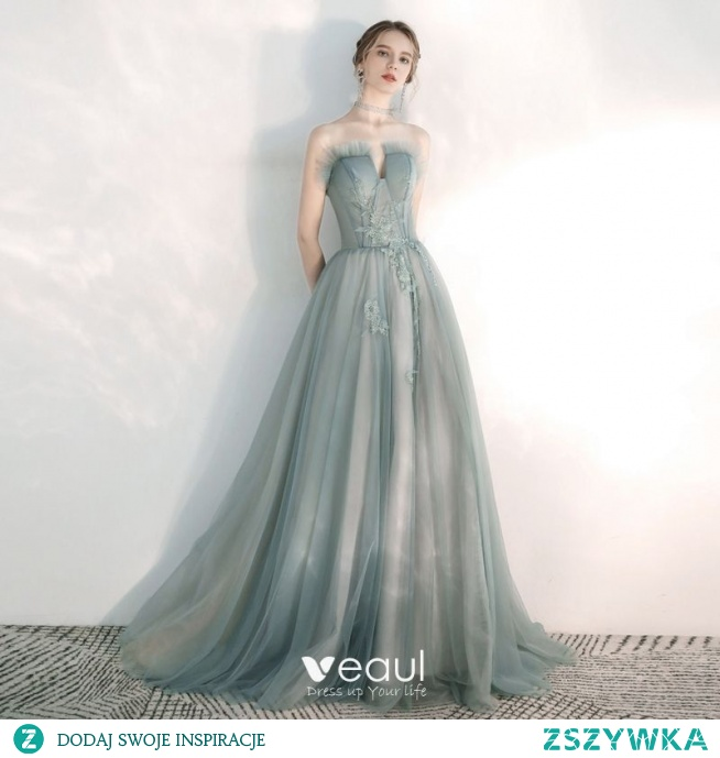 Eleganckie Szałwia Zielony Sukienki Wieczorowe 2020 Princessa Kochanie Bez Rękawów Aplikacje Z Koronki Frezowanie Trenem Sweep Wzburzyć Bez Pleców Sukienki Wizytowe