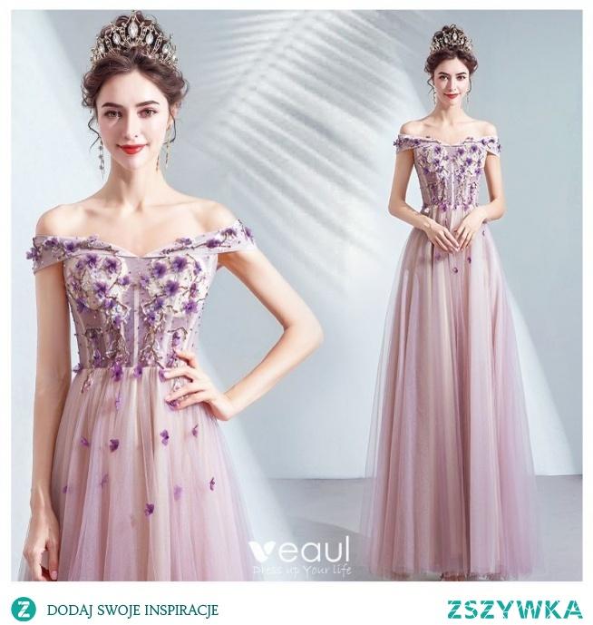 Piękne Fioletowe Sukienki Na Bal 2020 Princessa Przy Ramieniu Frezowanie Kryształ Aplikacje Z Koronki Kwiat Bez Rękawów Bez Pleców Długie Sukienki Wizytowe