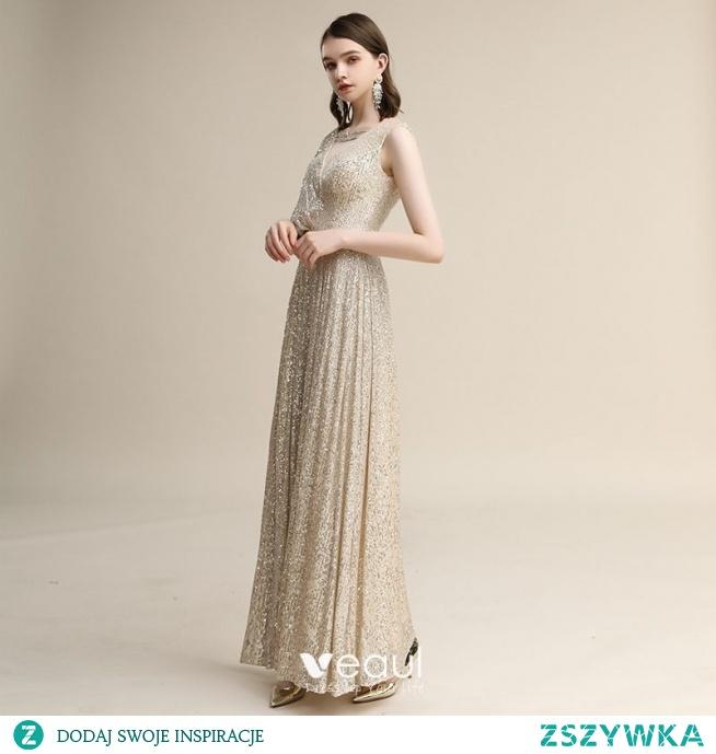 Błyszczące Szampan Cekiny Sukienki Wieczorowe 2020 Princessa V-Szyja Kótkie Rękawy Bez Pleców Długie Sukienki Wizytowe