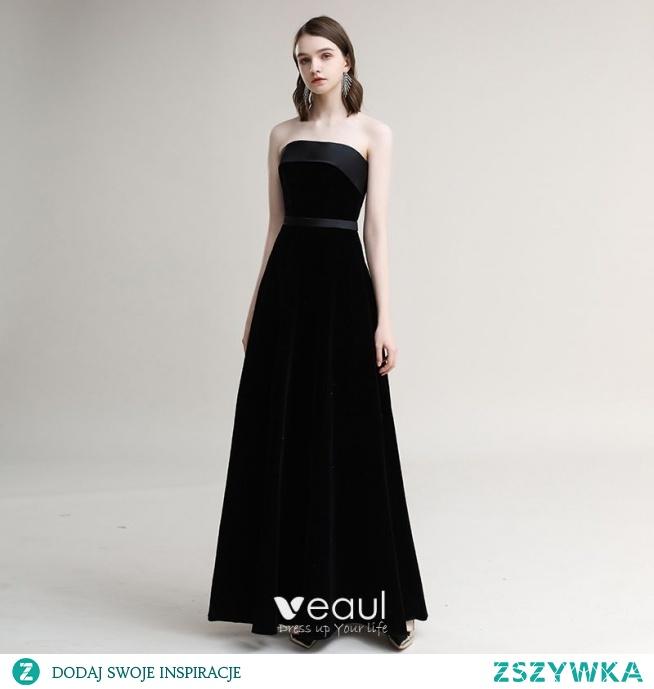 Proste / Simple Czarne Sukienki Wieczorowe 2020 Princessa Zamszowe Bez Ramiączek Bez Rękawów Bez Pleców Długie Sukienki Wizytowe