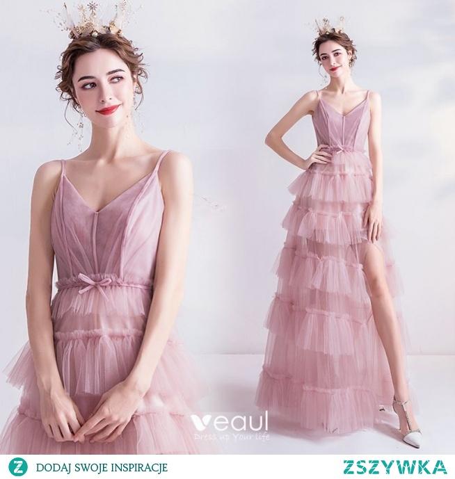 Piękne Ecru Sukienki Wieczorowe 2020 Princessa Spaghetti Pasy Kokarda Bez Rękawów Bez Pleców Kaskadowe Falbany Podział Przodu Długie Sukienki Wizytowe